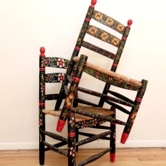 Hand Painted Wooden Chairs Swing Chair Durban Mexican Folk Art Floral Impossibly