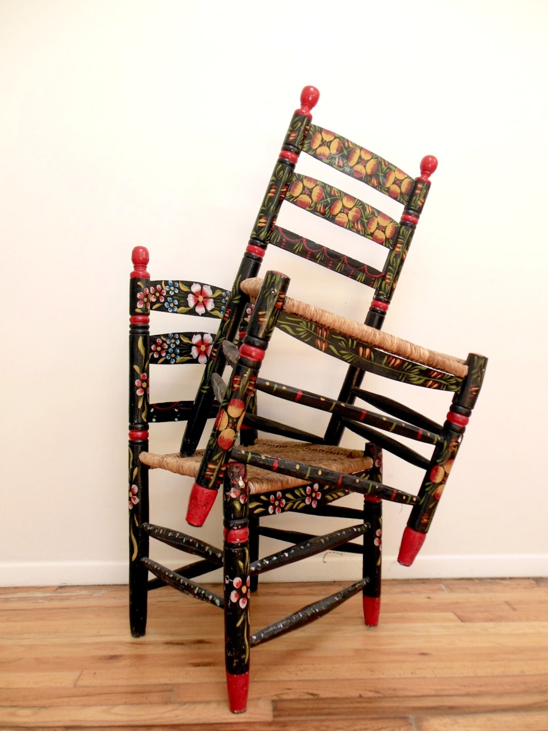 Hand Chairs Mexican Folk Art Chairs Hand Painted Floral Impossibly