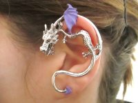 Purple and silver dragon ear cuff gothic jewelry dragon