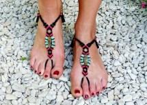 Barefoot Sandals Micro Macrame Labradorite Boho Bohemian Chic