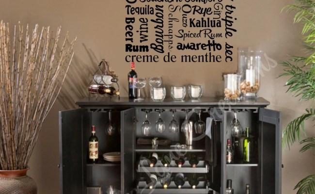 Bar Wall Decal Liquor Names Word Art Bar Wall Decor Bar Art