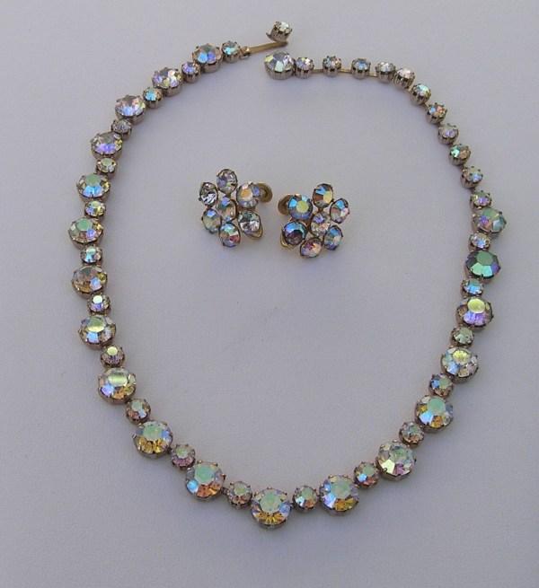Weiss Rhinestone Necklace & Earrings Set Vintage Ab