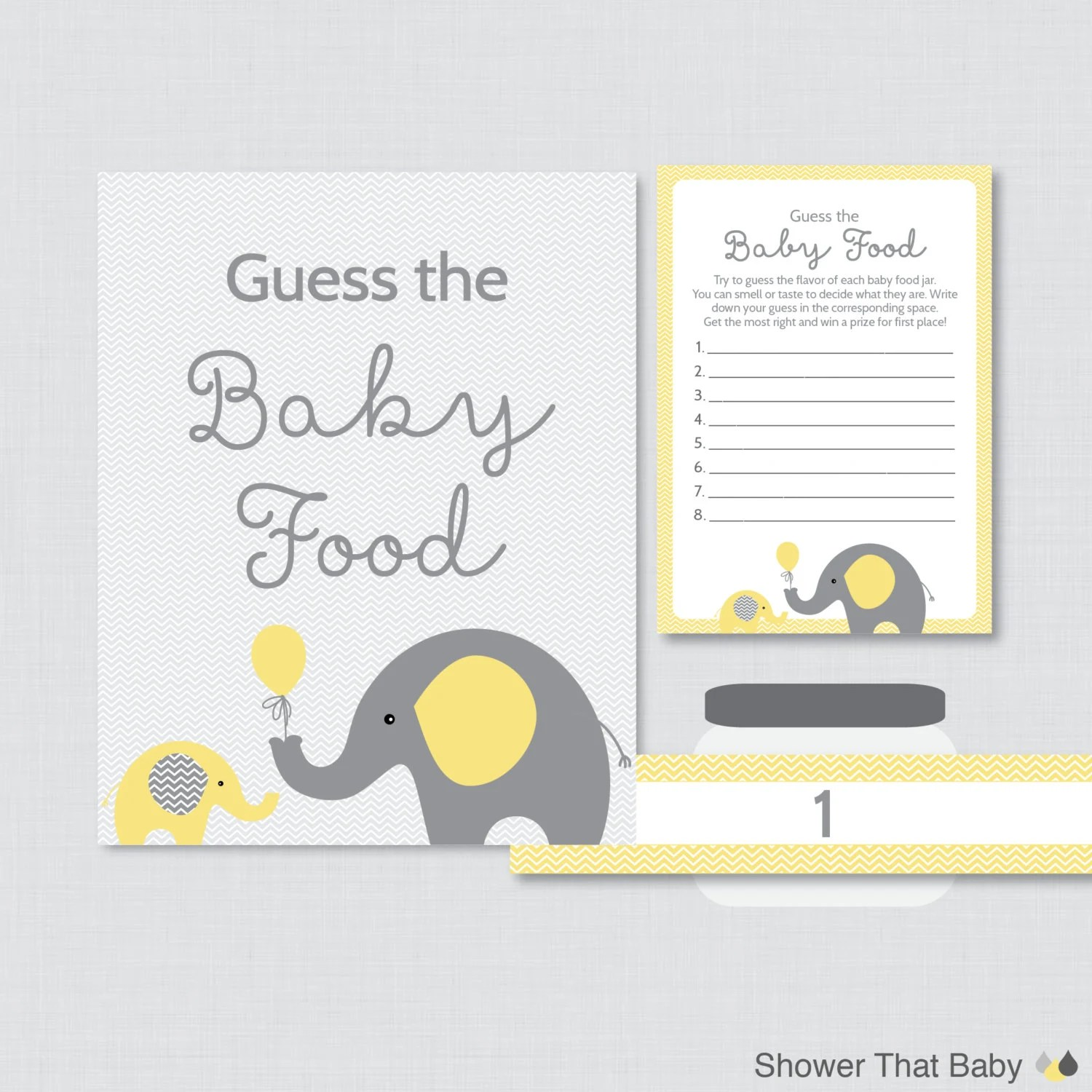 Elephant Baby Shower Guess The Baby Food Baby Shower Game