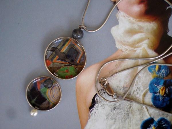 Modern Art Silver Pendant Illustration Jewelry Statement