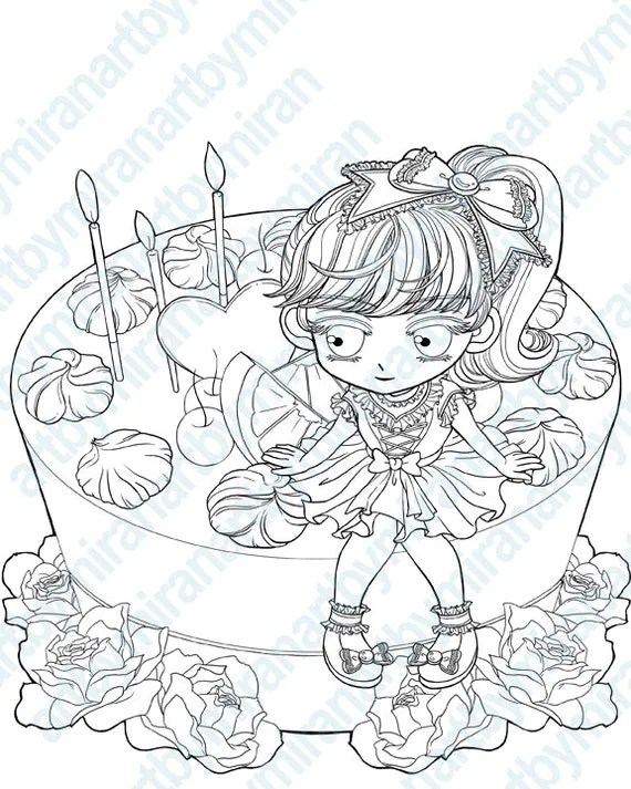 Digital Stamp-My Cake Coloring Page Birthday image digi
