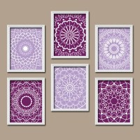 Purple Wall Art Medallion Wall Art Bedroom Pictures CANVAS