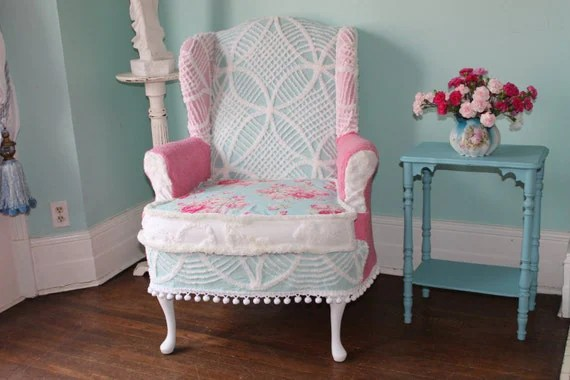 Items similar to shabby chic slipclovered wing back chair
