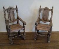 Miniature Medieval chairs dark oak chairs two Tudor chairs