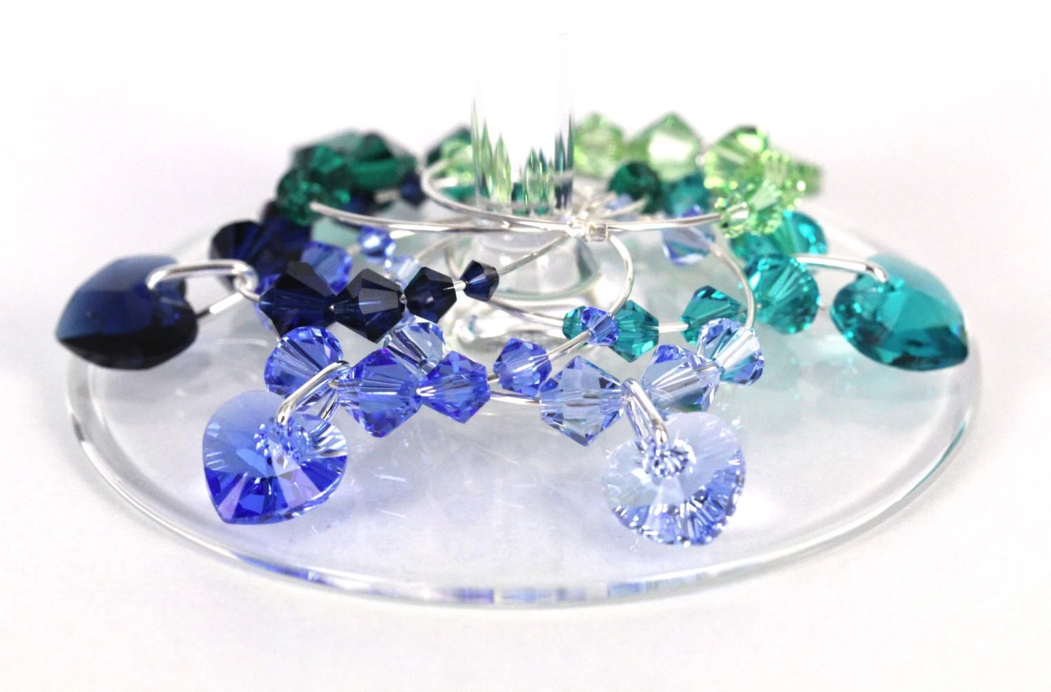 Blue green crystal wine charms