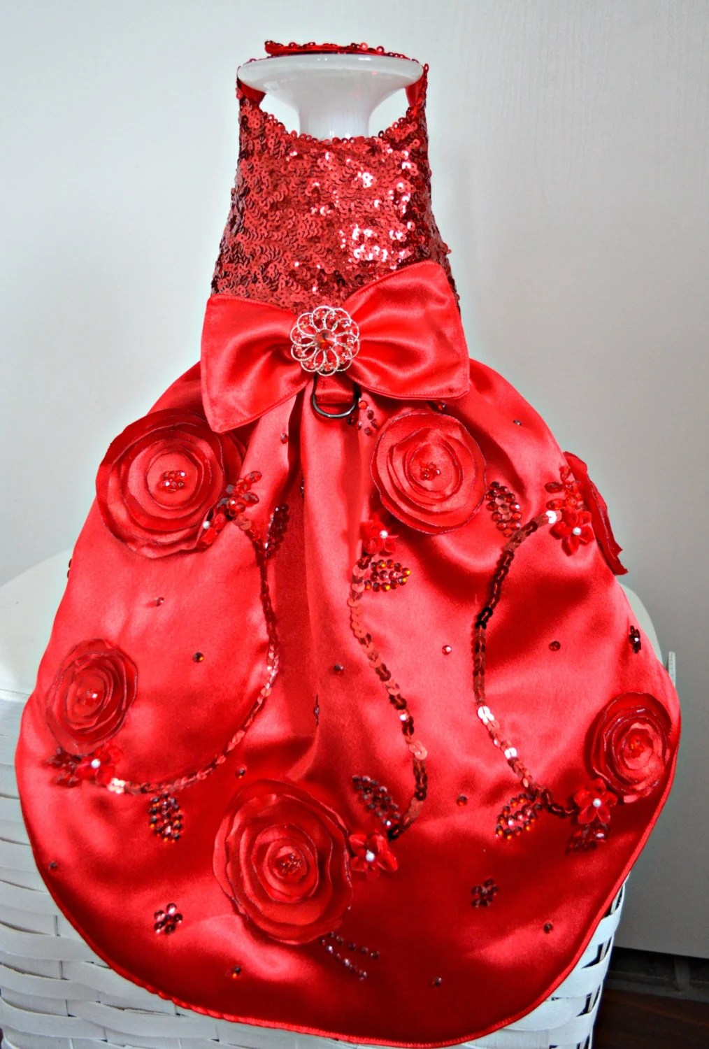 Dog Dress Wedding Red Sequin Fancy Dress By Kocouture On Etsy