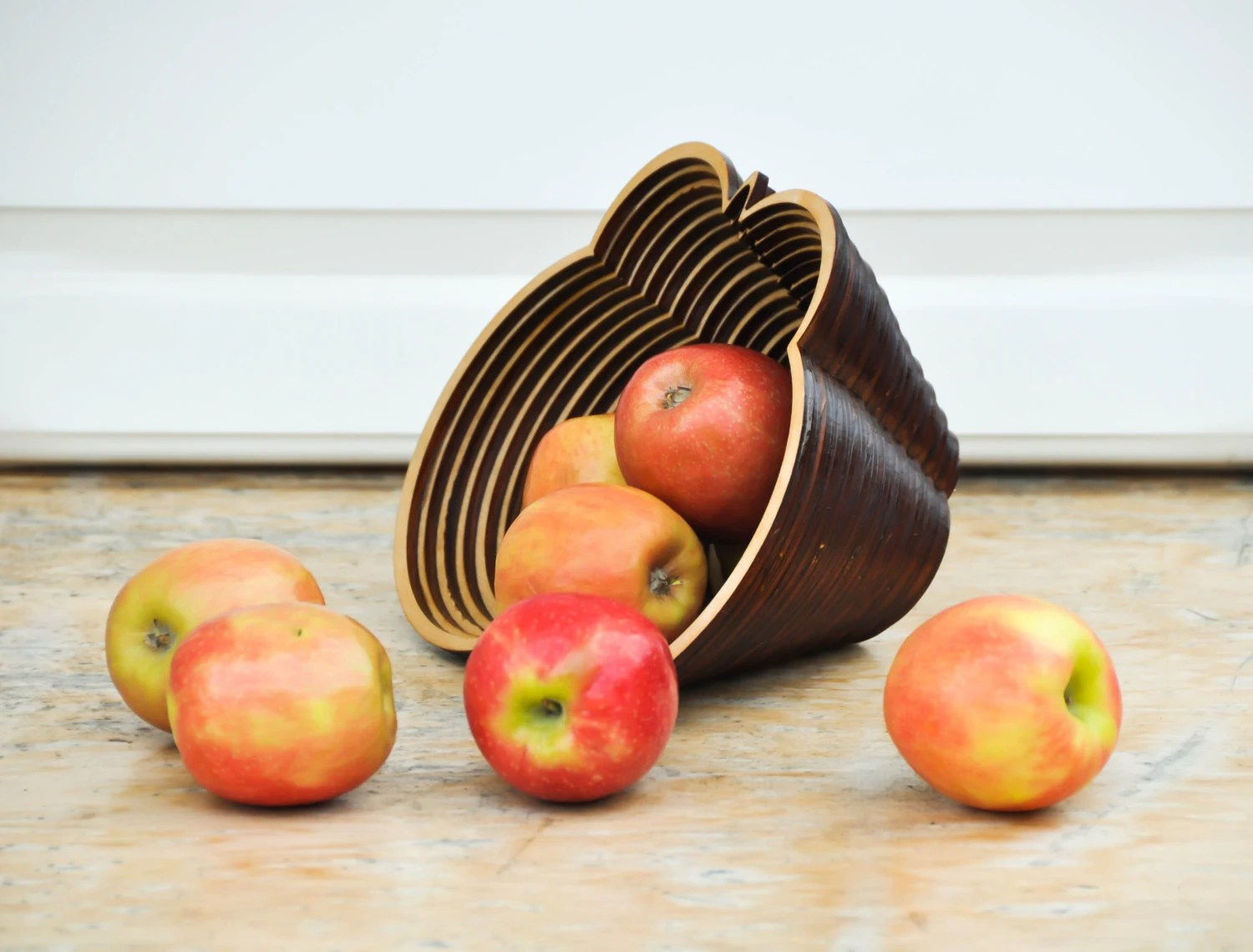 Wooden decorative bowl - rustic home decor - hand made wooden dish - geometric fruit bowl - wedding gift - housewarming gift - PictureInADream