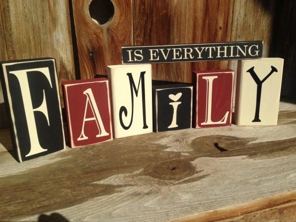 Family Home Vinyl Lettering Wood Blocks