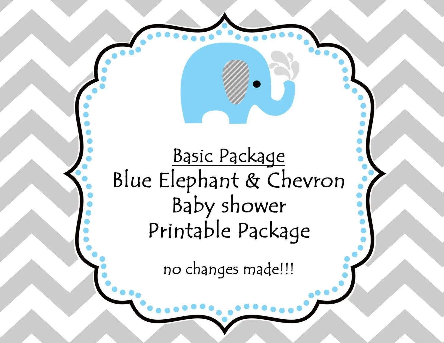 Instant Download Printable Blue Elephant Baby Shower Party