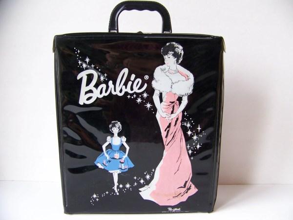 Vintage 1962 Barbie Doll Black Case. Accessories