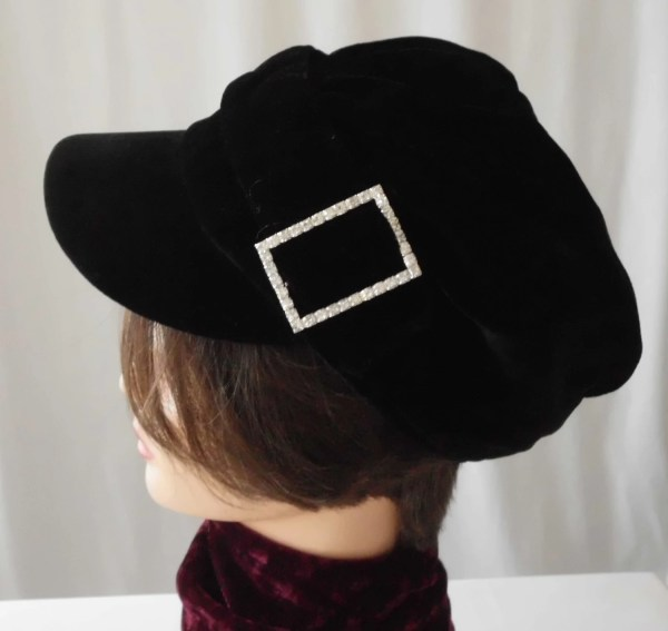 Vintage Harley Davidson Velvet Hat Womans Paperboy Rhinestone