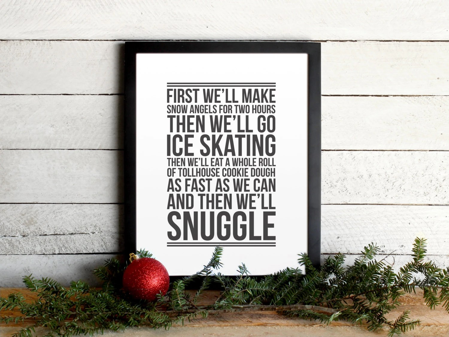 Elf Movie Quote Poster - Christmas To-Do List - Vintage Modern Typographic Christmas Print, Festive, Holiday Wall Art & Mantle Decor