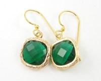 Emerald Green Drop Earrings Crystal Emerald Drop May