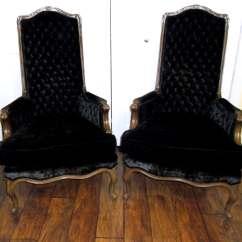 Black Velvet Chair Reupholster Salon Sale Mid Century Hibriten Tufted Chairs