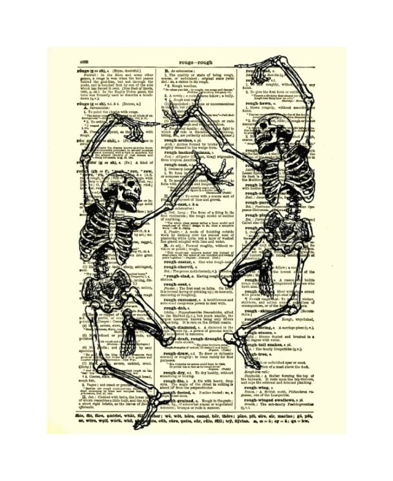 Dancing Skeleton Couple On Antique Dictionary Page Halloween Decor, Dictionary Art Print, Mixed Media Digital Collage Print, Wall Decor