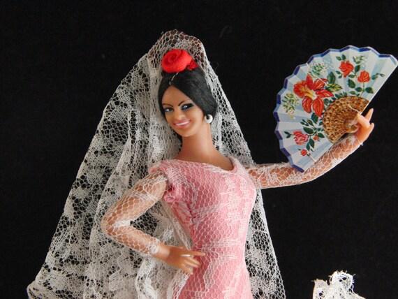 Vintage bambola ballerina di Flamenco spagnolo in abito rosa