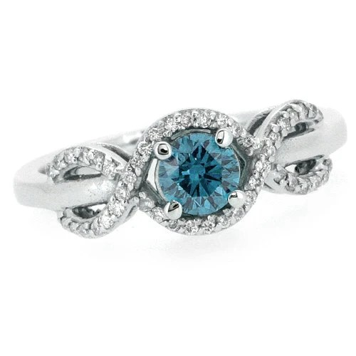Blue Diamond Promise Rings