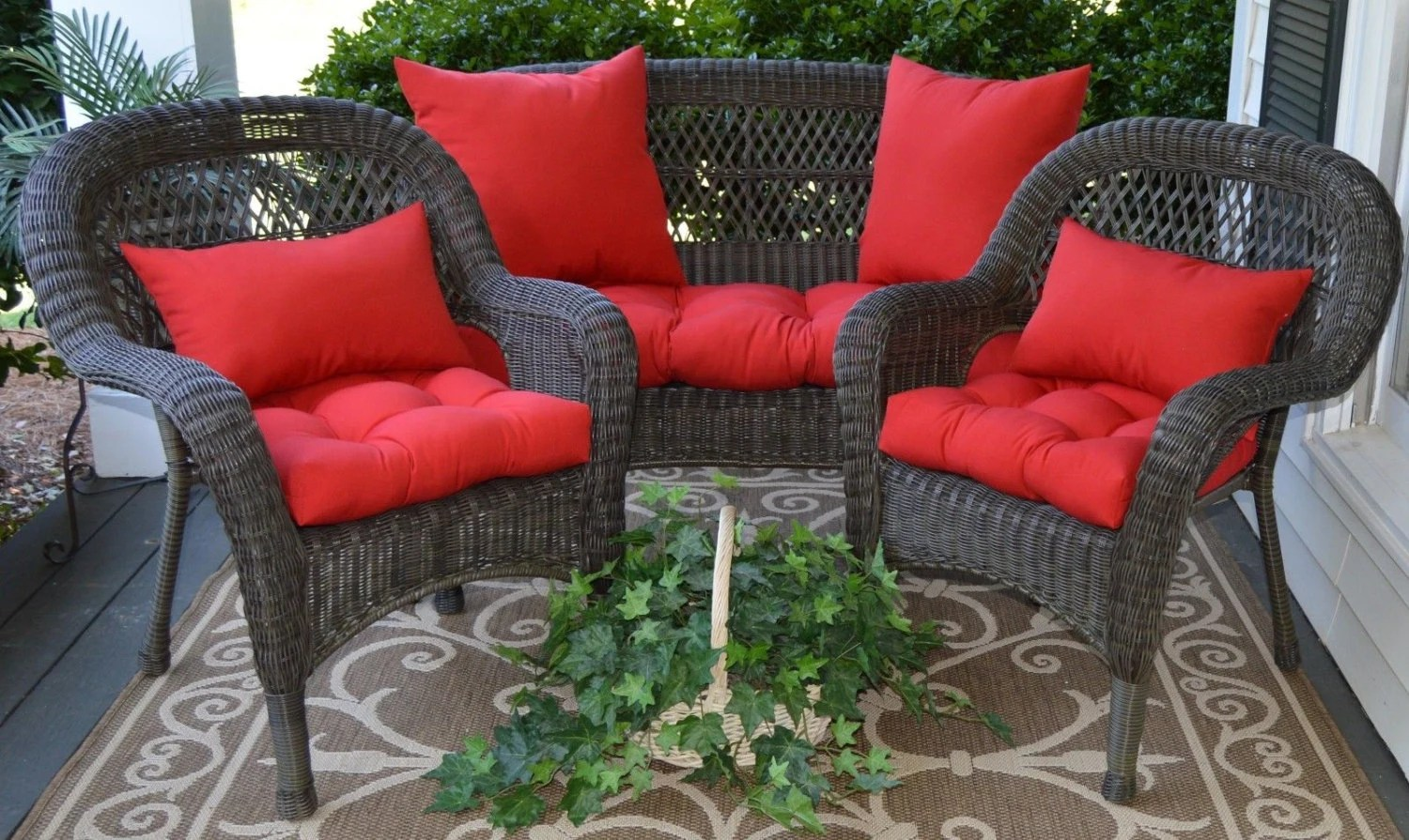 Outdoor Wicker Cushion And Pillow 7 Pc. Set Solid Red