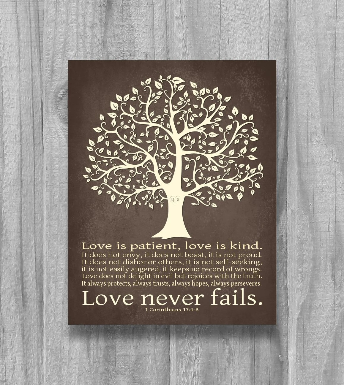 Items similar to Personalized Love Never Fails Tree Art Print Wedding Gift Anniversary 1