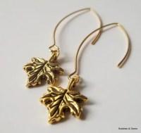 Maple Leaf Earrings 16K gold plated hooks