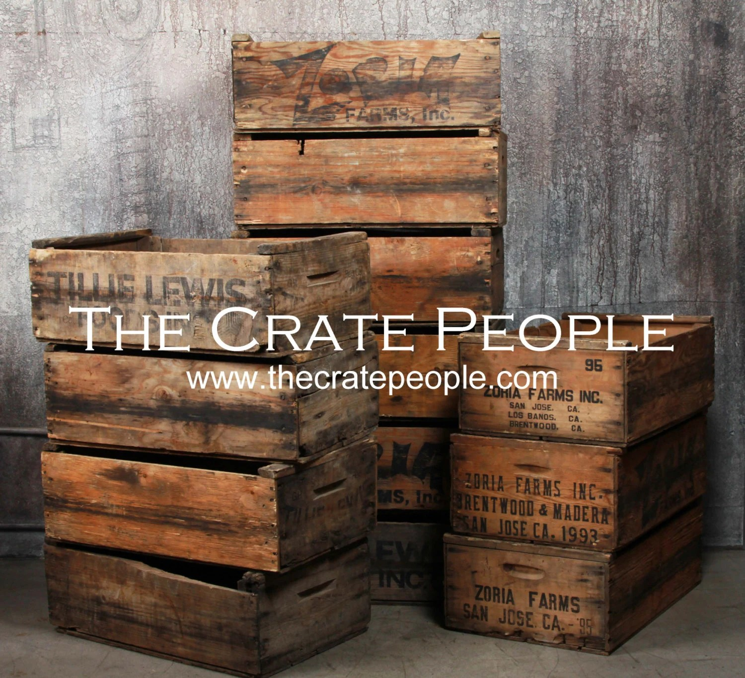 FREE SHIPPING vintage Wood Crates Zoria Farms Crate