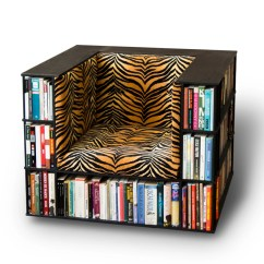 Chair With Built In Bookshelf Green Leather Luxury Club Library Bookcase Tiger Print Made To