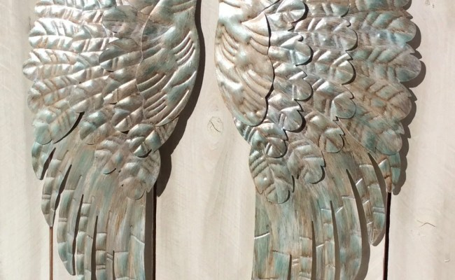Large Metal Angel Wings Wall Decor Rustic Turquoise Silver