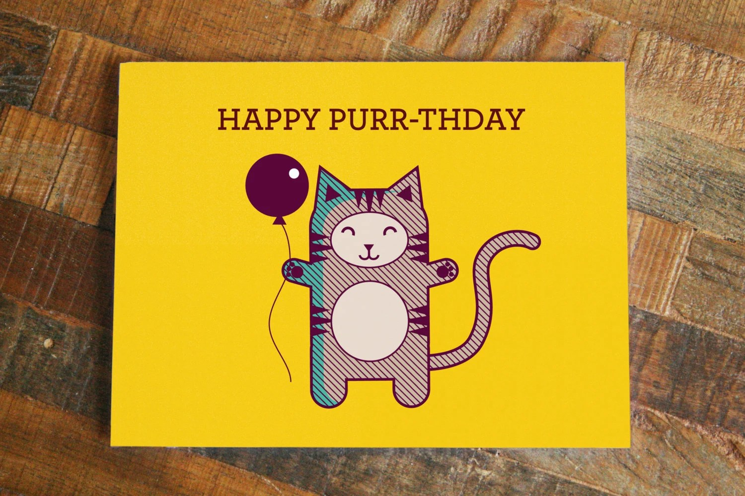 Cat Pun Birthday Card Happy Purr Thday Funny
