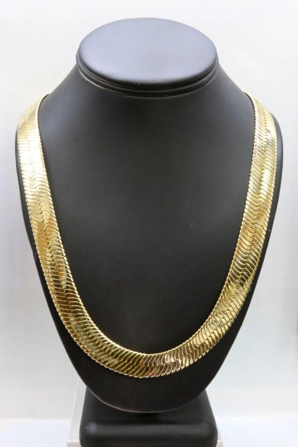 Gold 14mm Herringbone Necklace 21centuryjewelry