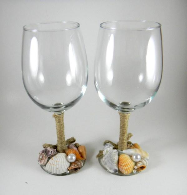 Beach Wine Glasses Wedding Set Of Two