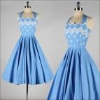 Vintage 1950s Halter Dress . Blue Cotton White Embroidered