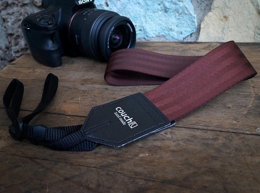 Maroon Oxblood Seatbelt Camera Strap Upcycled Vegan Made In