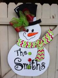 Items similar to Christmas Snowman Wooden Door Hanger ...