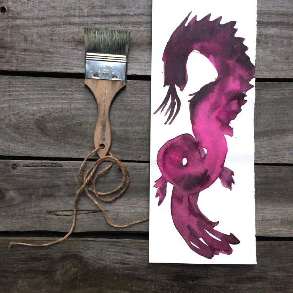 Asian Dragon Ink Drawing Fine Art Hot Pink Chinese