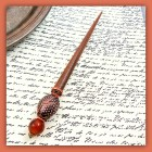 OOAK fashion HAIR STICK caramel amber rust copper wire wrapped maple wood Autumn fall chopstick updo hair accents accessory tagt rdtt