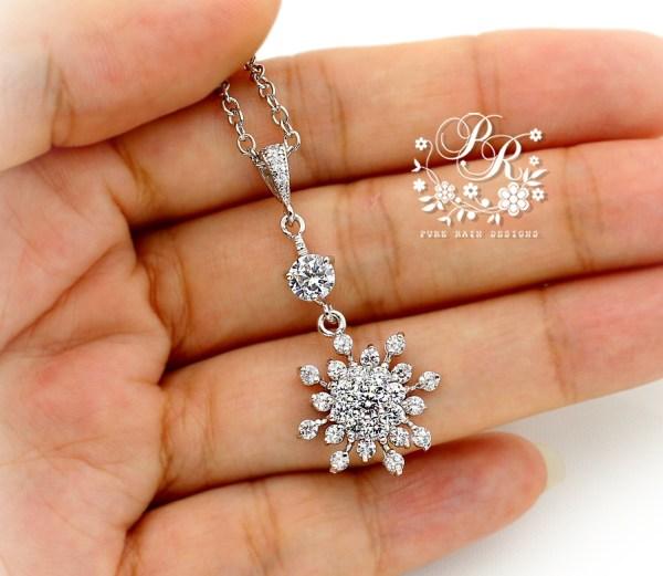 Wedding Necklace Zirconia Snowflake Jewelry