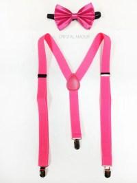 hot neon pink suspenders neon pink bowtie and pink suspenders
