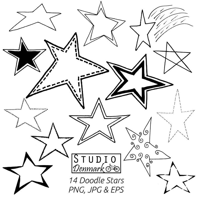 Stars Clipart Set – 14 Doodle Stars Included