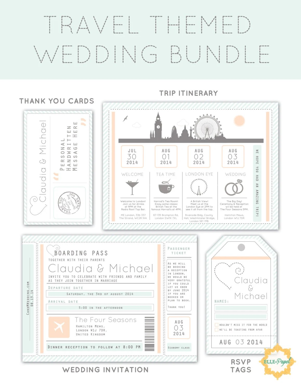 Items similar to Destination Wedding Invitation Package