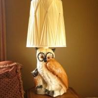 Vintage Chalkware Owl Table Lamp 1980s Huge