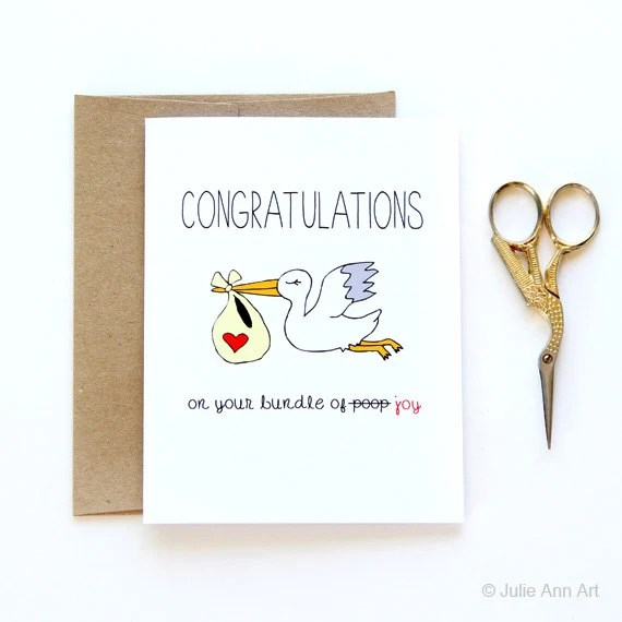 Funny New Baby Card Congratulations On The Bundle Of Poop
