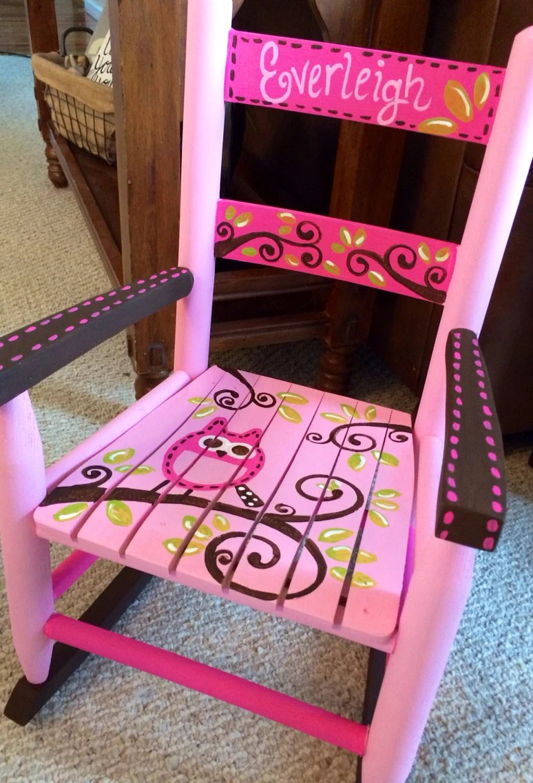 Girls rocking chair pink and brown owls child rocker