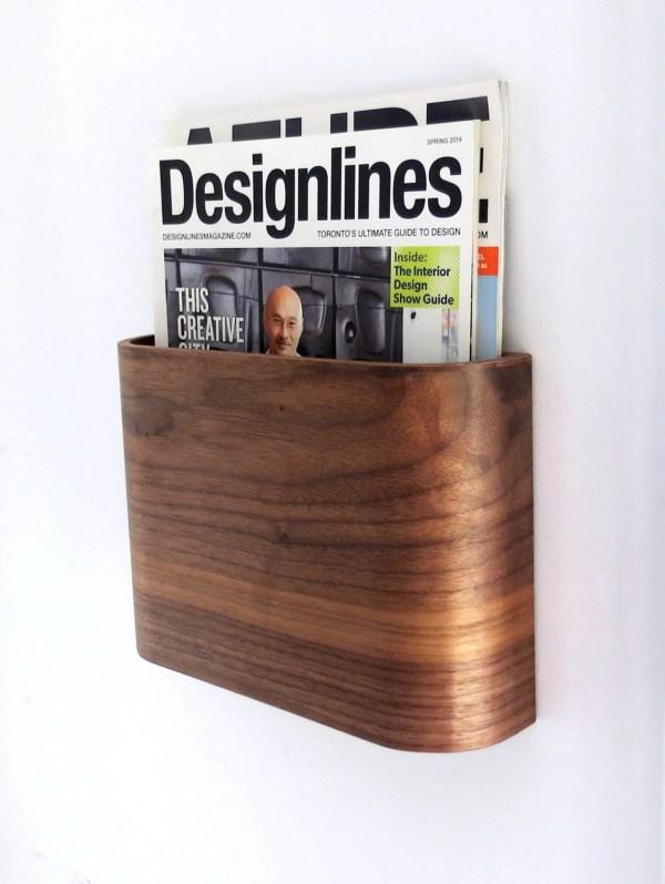 Magazine Rack Wall Hung Wooden Holder