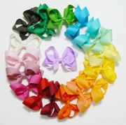 girls hair bow set rainbow colors