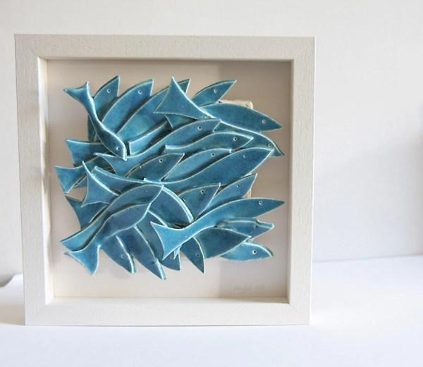 Wall Sculpture Ceramic Art School Of Fish White