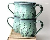 Ceramic Coffee Cup Mug - Set of 4 - Aqua Mist French Country Dinnerware - Hand Thrown - MADE TO ORDER